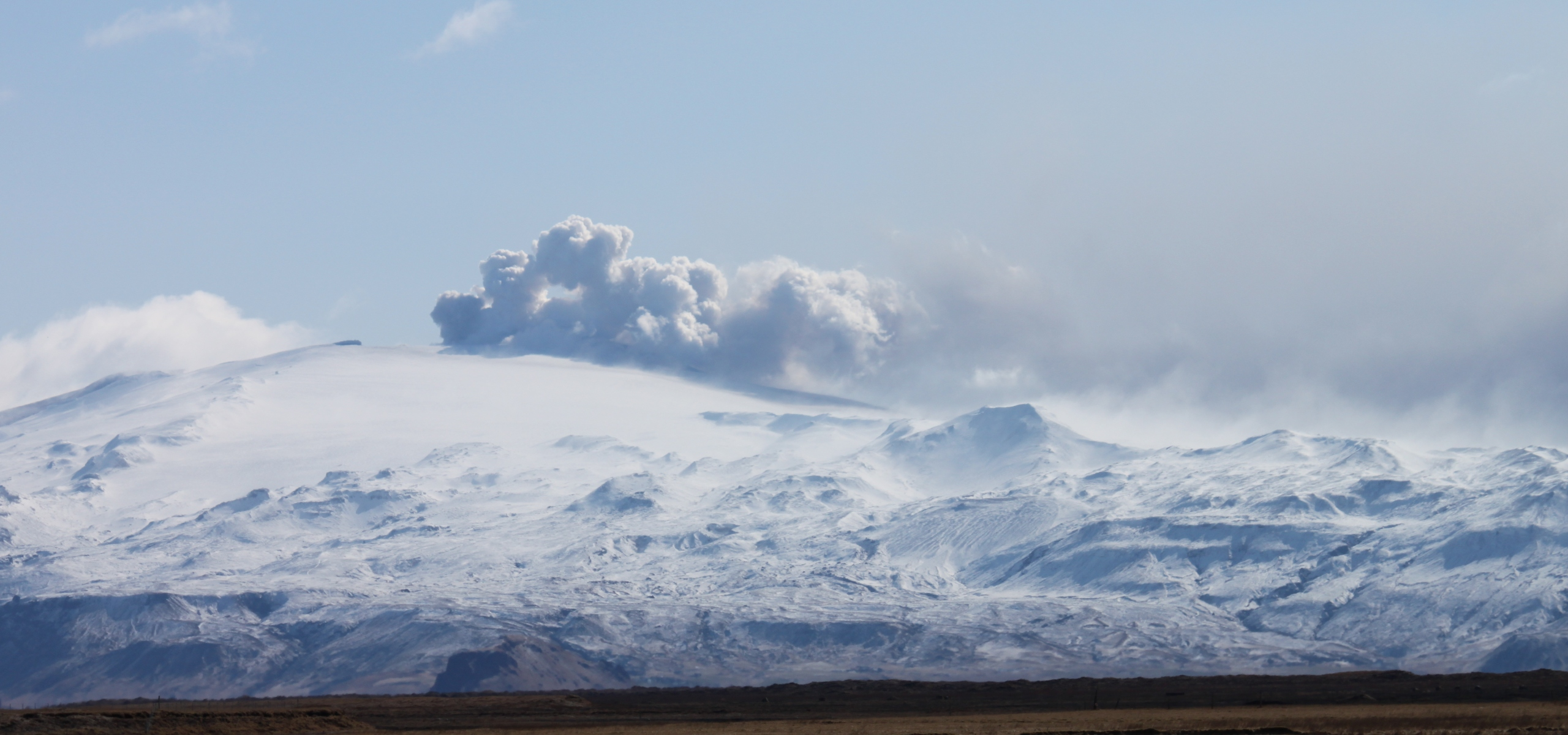 Smoke rising from Eyjfafjallajokull