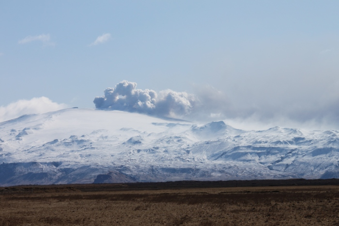 Smoke rising from Eyjfafjallajokull