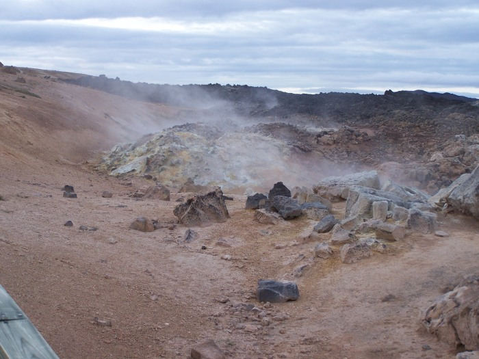 Steaming lava field at Krafla