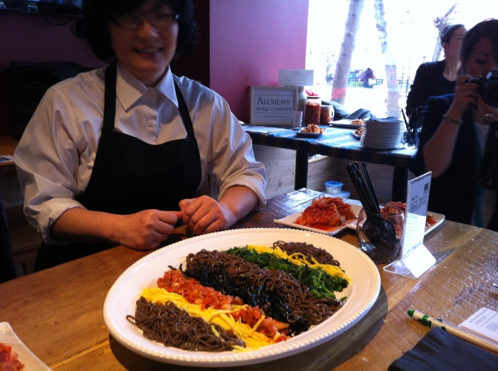 Winner Belle Park with her soba noodle dish