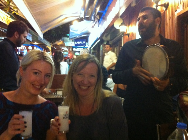 Sabrina and me, braving our first taste of raki