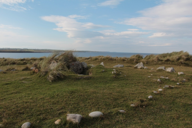 The remains of an ancient wedge tomb at Streedagh Strand