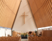 A temporary cathedral made of cardboard has become a tourist attraction