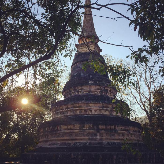 stone stupa in the forest in Chiang Mai