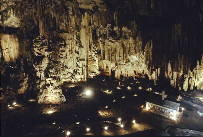 dimly lit cave in Crete