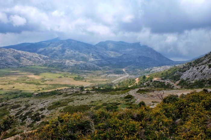 field and mountains in Crete